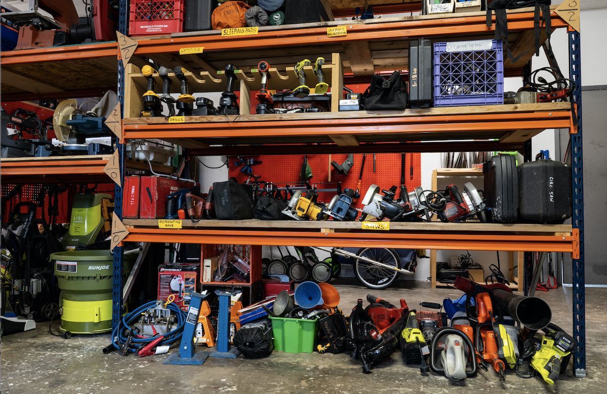 Shelves full of tools that can be found at the Chicago Tool Library